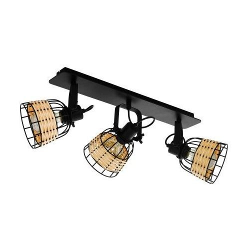 43326 ANWICK 1 spot; stal, czarny / rattan, naturalny KINKIET LAMPA EGLO VINTAGE (9002759433260)