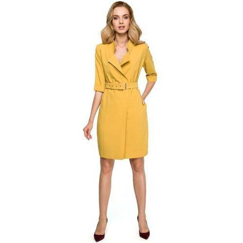 Żółta Elegancka Szmizjerka z Paskiem, kolor żółty