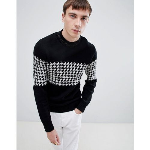 high neck knitted jumper with houndstooth stripe pattern - black marki Selected homme