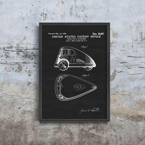 Vintageposteria.pl Plakat vintage do salonu plakat vintage do salonu patent na pojazd trójkołowy