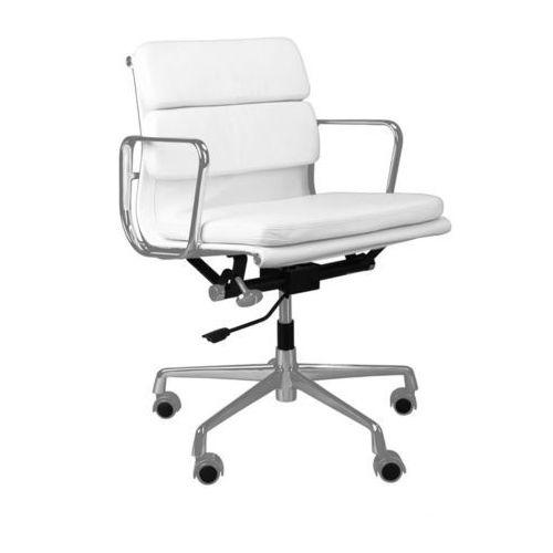 D2.design Fotel biurowy ch inspirowany ea217 skóra, chrom - biały