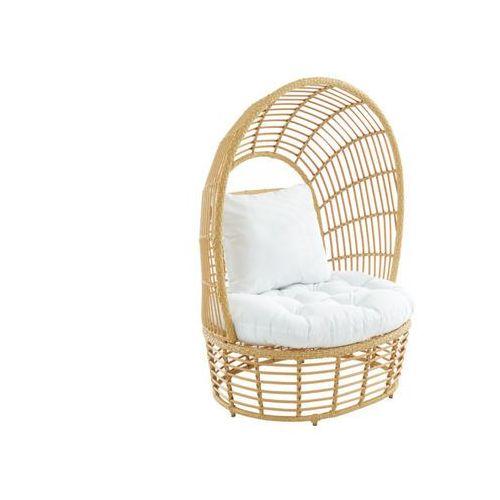 Fotel ogrodowy calodyne z zadaszeniem, z technorattanu w kolorze beżowym, z białą poduszką marki Vente-unique