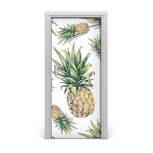 Naklejka na drzwi do domu samoprzylepna Ananasy