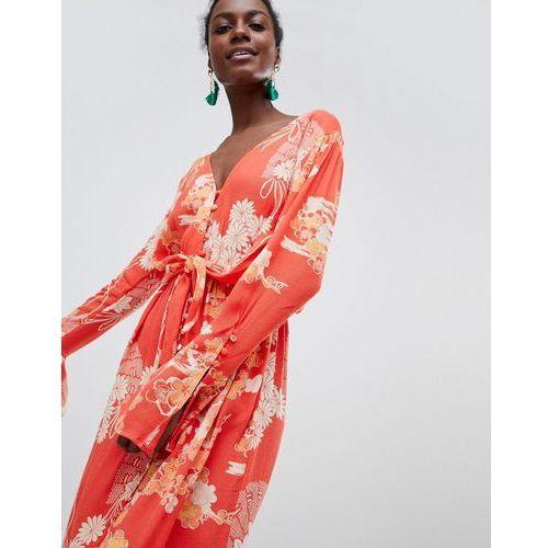mixed print twist midi dress - red, Free people, 34-40