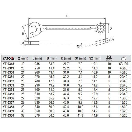 Yato Klucz płasko-oczkowy z polerowaną główką 19 mm yt-0348 - zyskaj rabat 30 zł