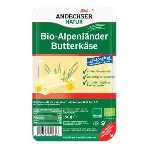 Ser alpejski w plastrach 50% bio 150 g natur marki Andechser