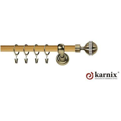 Karnix Karnisz metalowy prestige pojedynczy 25mm globi crystal antyk mosiądz - pinia