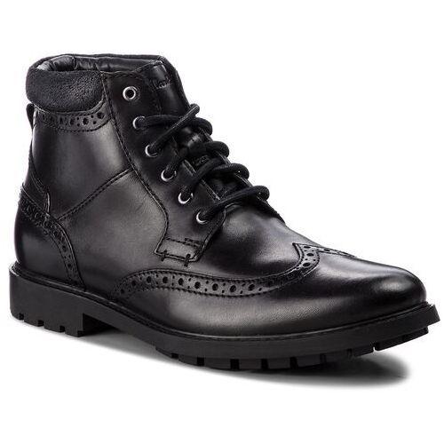 Kozaki CLARKS - Curington Rise 261368537 Blk Smooth Leather, kolor czarny