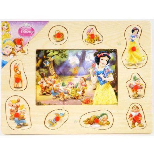Brimarex Puzzle i układanka drewniana z pinezkami 2 w 1 princess