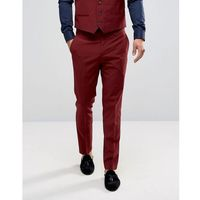 River island skinny suit trousers in burgundy - red