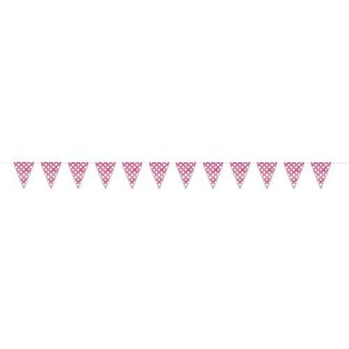 Baner flagi różowe w kropki - 3,65 m.