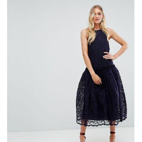 ASOS TALL Lace Smock Drop Waist Midi Dress - Navy