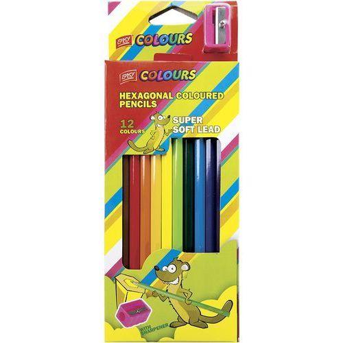 Easy, Kredki drewniane z temperówką, sześciokątne, 12 kolorów (5901180334099)