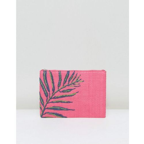 South Beach Hot Pink Straw Clutch Bag With Palm Embroidery - Pink