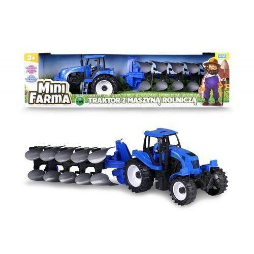 Mini Farma Traktor z maszyną roliczą niebieski