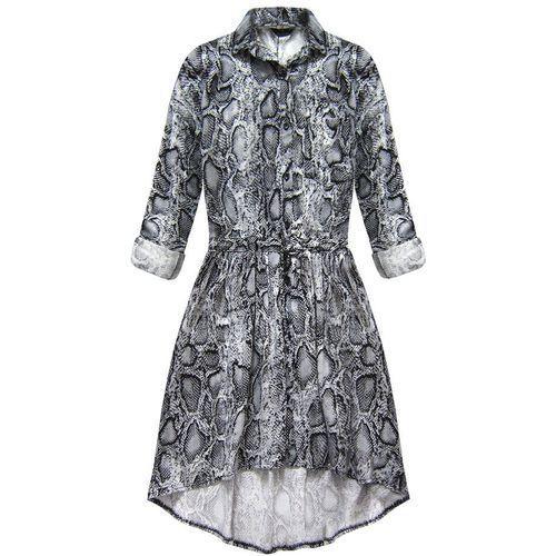 My still life Sukienka koszulowa w wężowy wzór szara (132art) - szary