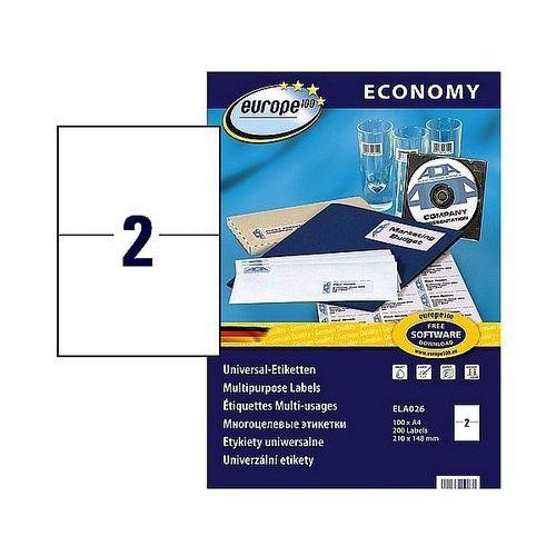 Etykiety samoprzylepne Economy Avery Zweckform 210x148mm białe, 100ark. A4, ELA026