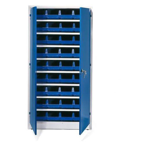 Aj produkty Szafa warsztatowa z pojemnikami, 36 niebieskich pojemników, 1900x1000x400 mm