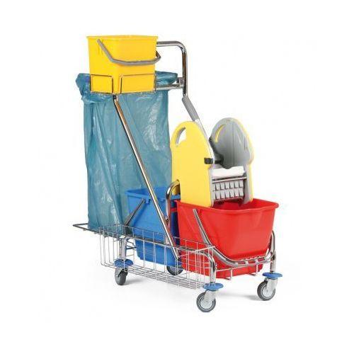 Profesjonalny dwuwiadrowy wózek do sprzątania z uchwytem na worki