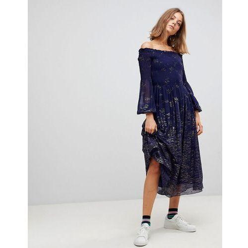 Free People Foiled Off Shoulder Midi Dress - Blue