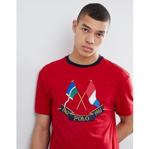 Polo Ralph Lauren Bring It Back 50 Year Flag Embroidery T-Shirt in Red/Navy - Red