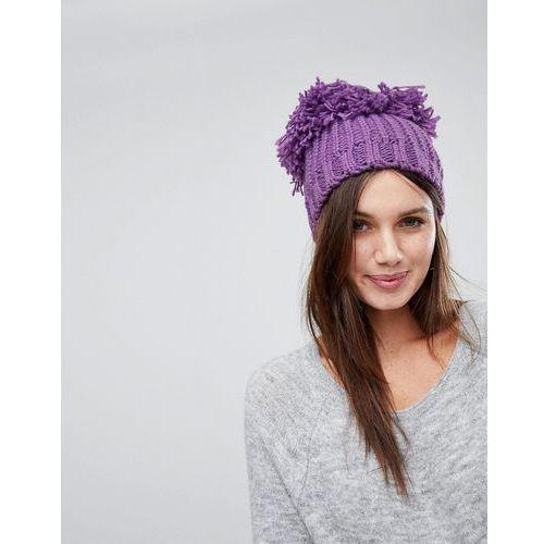 supersize knitted pom pom beanie hat - purple marki River island