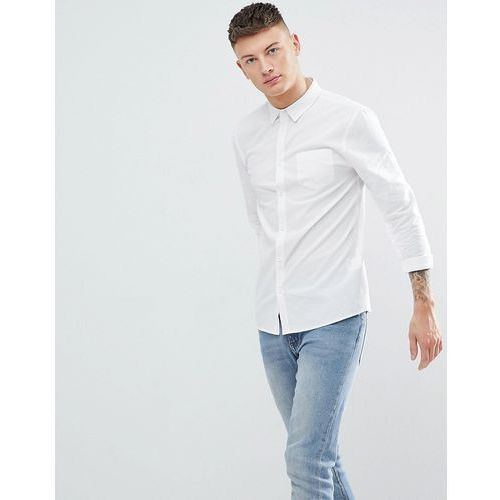 Another Influence Plain Chambrey Long Sleeve Shirt - White