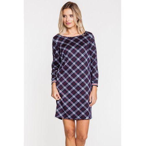 Casualowa, granatowa sukienka w kratę - Ennywear, kolor niebieski