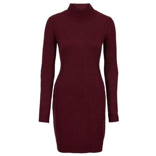 Sukienka dzianinowa w ażurowy wzór czerwony klonowy, Bonprix, 40-50