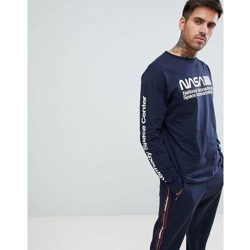 Pull&Bear NASA long sleeved top in navy with print - Navy, kolor szary