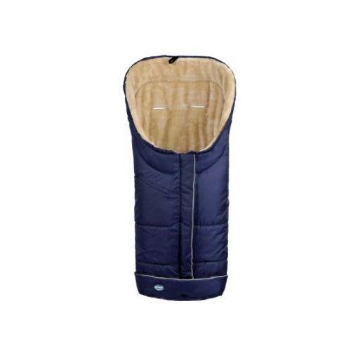 URRA Śpiworek na nóźki Deluxe z futerkiem duźy marine/beźowy