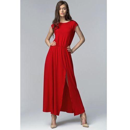 Nife Czerwona efektowna maxi sukienka z długim rozporkiem