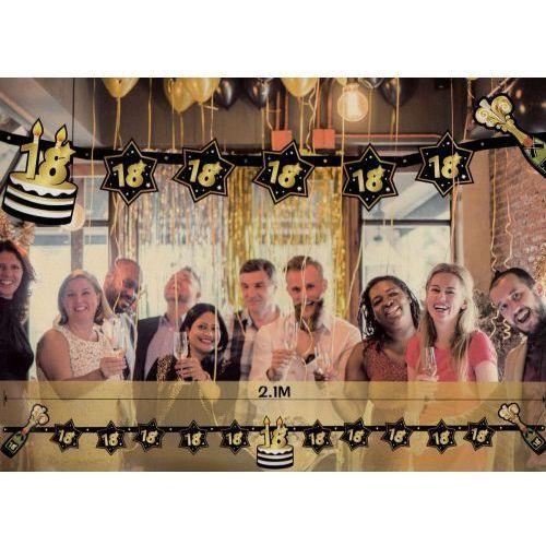 Girlanda na 18 urodziny czarno-złote gwiazdy marki Udo