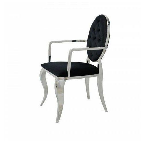 Krzesło Ludwik II glamour Arms Black - nowoczesne krzesło pikowane guzikami, Premier/KRZO/black