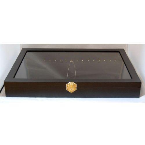 Zamykana, czarna, duża tacka do prezentacji biżuterii np. łańcuszków (pozioma), 00489