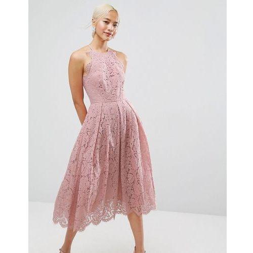 ASOS Lace Pinny Scallop Edge Prom Midi Dress - Pink, kolor różowy
