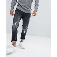 Jack & jones intelligence jeans in slim fit with distressed washed denim - black