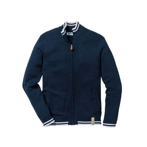 Sweter rozpinany ze stójką ciemnoniebieski marki Bonprix