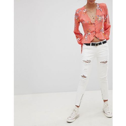 Glamorous ripped skinny jeans - white