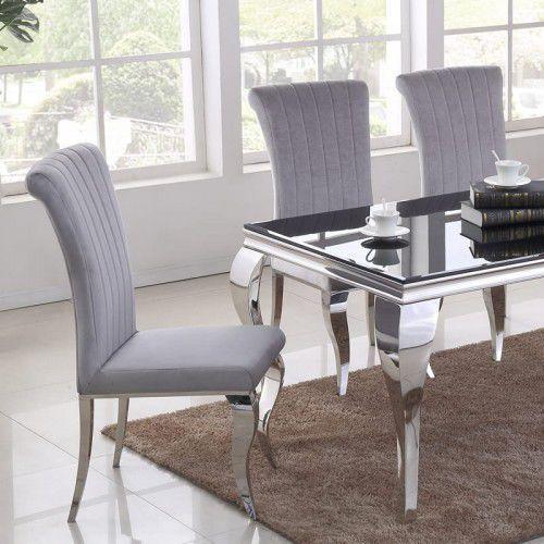 Krzesło glamour stanley ii silver - nowoczesne krzesło tapicerowane marki Bellacasa