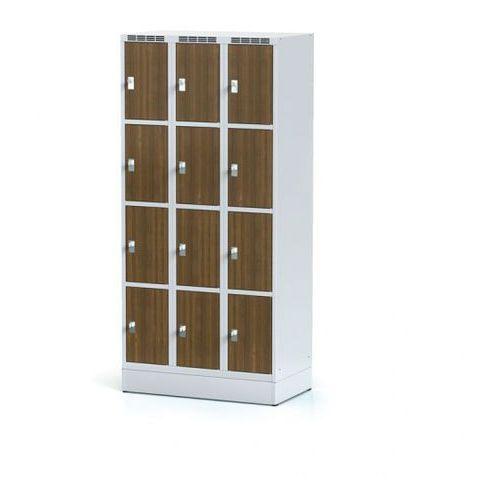 Szafka ubraniowa 12 drzwi 300x300 mm na cokole, drzwi lpw, orzech, zamek obrotowy marki Alfa 3