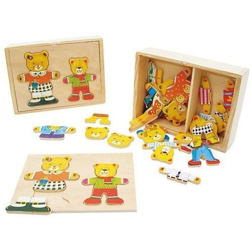 Brimarex Puzzle drewniane do przebierania miś z dzieckiem (5907791524300)