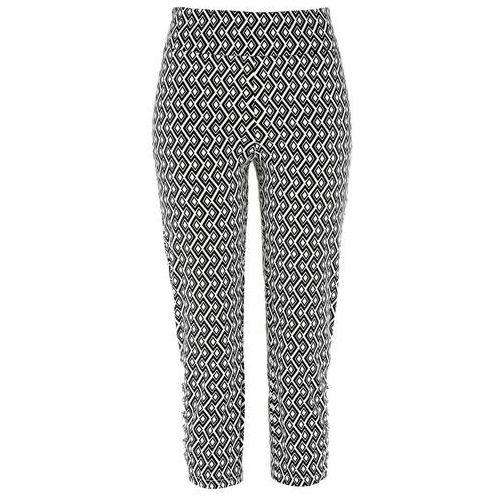 Bonprix Spodnie ze stretchem premium 3/4 czarno-biały