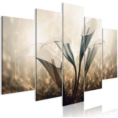 Obraz - kwiecisty kwartet (5-częściowy) szeroki brązowy marki Artgeist