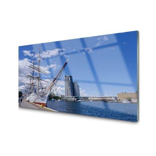 Obraz Akrylowy Łódka Morze Miasto Krajobraz