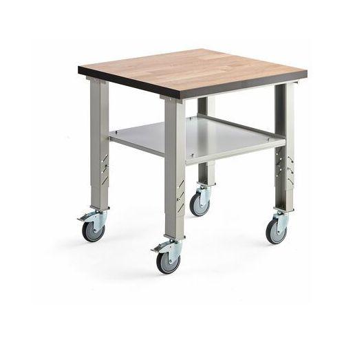 Stół roboczy SOLID, na kółkach, 500 kg, 800x800 mm, szary, dąb