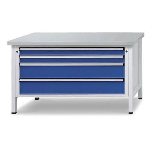 Stół warsztatowy z szufladami XL/XXL, szer. 1500 mm, 4 szuflady, blat z okładzin