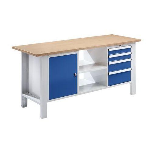 Stół warsztatowy, szer. blatu 1850 mm, 4 szuflady, 1 drzwi, płyta z multipleksu.