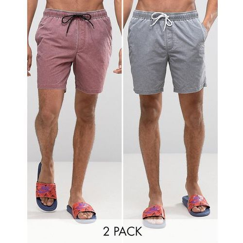 ASOS Swim Shorts 2 Pack In Acid Wash Grey And Burgundy In Mid Length SAVE - Multi