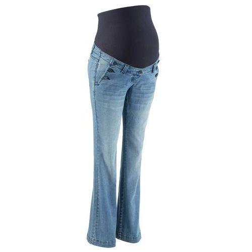 """Dżinsy ciążowe ze stretchem, bootcut  niebieski """"medium bleached"""" marki Bonprix"""